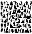 set wedding silhouettes vector image vector image