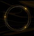 shiny golden frame with sparkles black background vector image