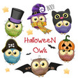 six cute halloween owls vector image vector image