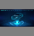 smart car isometric banner vector image vector image