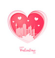 valentines card paper cut heart and sydney vector image vector image