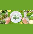 vegan realistic ad poster vector image vector image