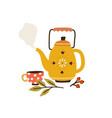 vintage tea kettle with hot steam cup and herbs vector image vector image