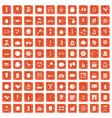 100 beauty product icons set grunge orange vector image