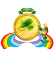 A big golden coin for St Patricks day vector image