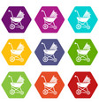 baby carriage retro icons set 9 vector image vector image