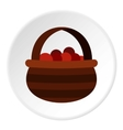 Basket of berries icon flat style vector image vector image