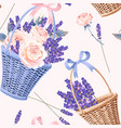 basket with flowers seamless vector image vector image