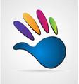 blue human hand print logo vector image vector image