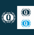 blue white q initial letter in classic frame vector image vector image