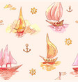 boats at sunset or sunrise pink seamless vector image