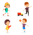 boy with basketball ball and girl with baby doll vector image vector image