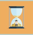 businessman over big sand watch deadline concept vector image