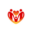 Child care logo template Shape of the heart vector image vector image