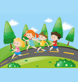 children running on the road vector image vector image
