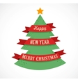 Christmas tree with ribbons and text space vector image