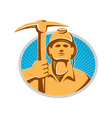 Coal Miner With Pick Ax Hardhat Front Retro vector image