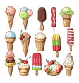 colored of ice creams with chocolate vector image vector image