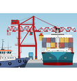 container ship in port vector image