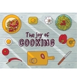 Cooking objects top view flat wood background vector image vector image