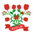 decorative red tulip flowers ribbon mothers day vector image