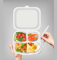 disposable tableware realistic image vector image vector image