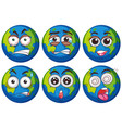 earth with six different faces vector image