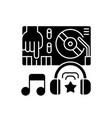 electronic music black glyph icon vector image