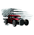 emblem muscle car silhouette on flag vector image vector image
