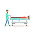 emergency doctor transporting injured man on vector image vector image