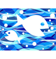 FIsh in seamless wavy pattern vector image vector image