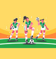 football woman team vector image vector image