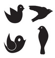 four birds set - black silhouette bird vector image vector image