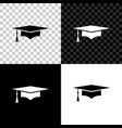 graduation cap icon isolated on black white and vector image
