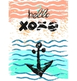 Hand drawn textured anchor card with vector image vector image