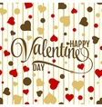 Happy valentines lettering on seamless white vector image vector image