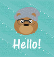 hello cute bear cartoon vector image vector image