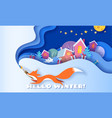 horizontal banner hello winter with fox running vector image