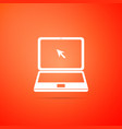 laptop with cursor icon on orange background vector image