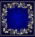luxurious gold pattern frame on a dark blue vector image
