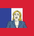 marine le pen cartoon on france flag background vector image vector image