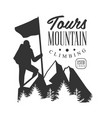 mountain climbing tours logo mountain tourism vector image vector image
