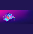 online gift purchase isometric 3d banner header vector image vector image