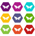origami butterfly icons set 9 vector image vector image