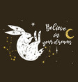 poster with a star hare and inscription vector image vector image