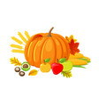 pumpkin and leaves chestnut and apples vector image vector image