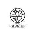 rooster line art logo design best for pet or vector image vector image