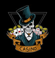 royal casino gambler skull editable layers vector image