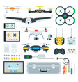 set copter and drone flat vector image