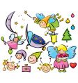 set of cute angels vector image vector image